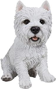 Hi-Line Gift Ltd Sitting Terrier Dog Statue, White