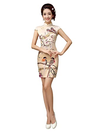 2cc2f9ae7783c Amazon.com: EXCELLANYARD Women's Chinese Dress Satin Qipao Cheongsam ...