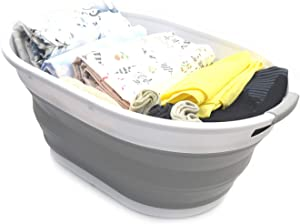 SAMMART 28L (7.4 Gallon) Collapsible Plastic Laundry Basket - Oval Tub/Basket - Foldable Storage Container - Portable Washing Tub - Space Saving Laundry Hamper, Water Capacity 22L/5.8 Gallon (1, Grey)