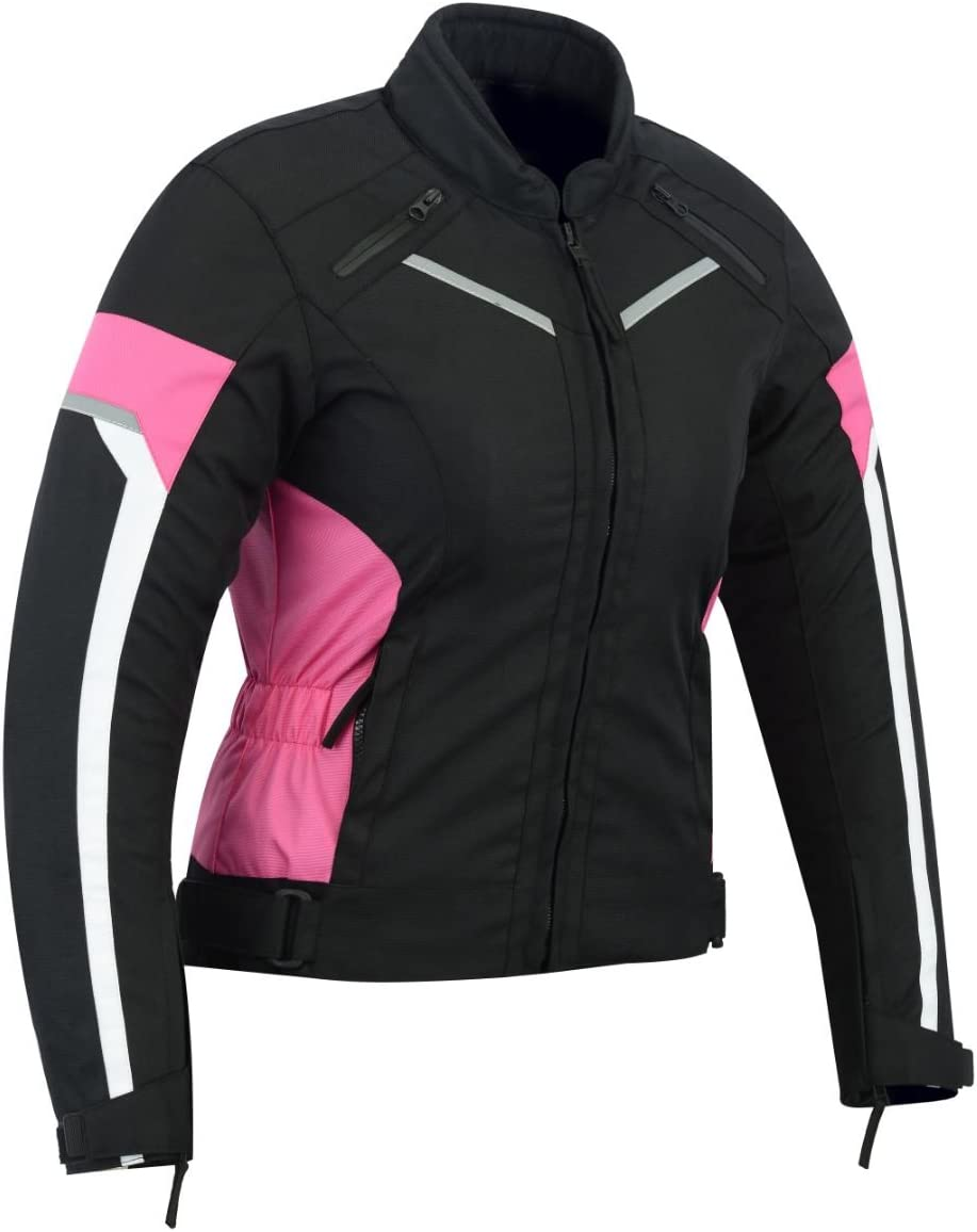 L WOMENS MOTORCYCLE ARMORED HIGH PROTECTION WITH ARMOR WATERPROOF ALL WEATHERS JACKET BLACK//PINK WJ-1834P