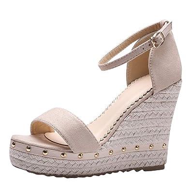 f7f99a813a35e8 MissSaSa Sandale Femme Talon Compensé Plateforme: Amazon.fr: Chaussures et  Sacs