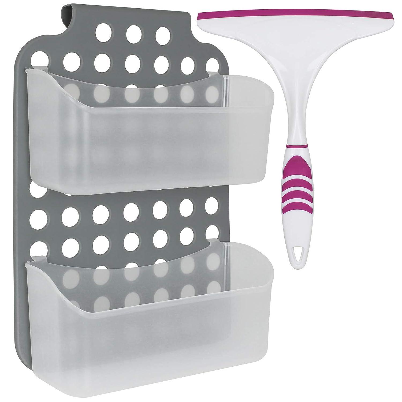 Duschregal 2 Ablagen zum hä ngen mit Abzieher Duschkorb Duschablage Ablage Badezimmer Hä ngeregal TW24
