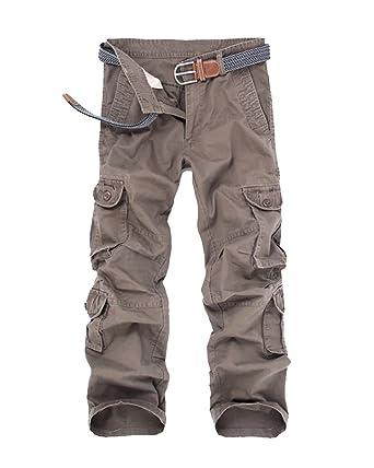 e6b27d19d37f5 Hombres Clásico Cargo Pantalones Largos Casual Trabajo Multi Bolsillos  Pants Militar Café 36  Amazon.es  Ropa y accesorios