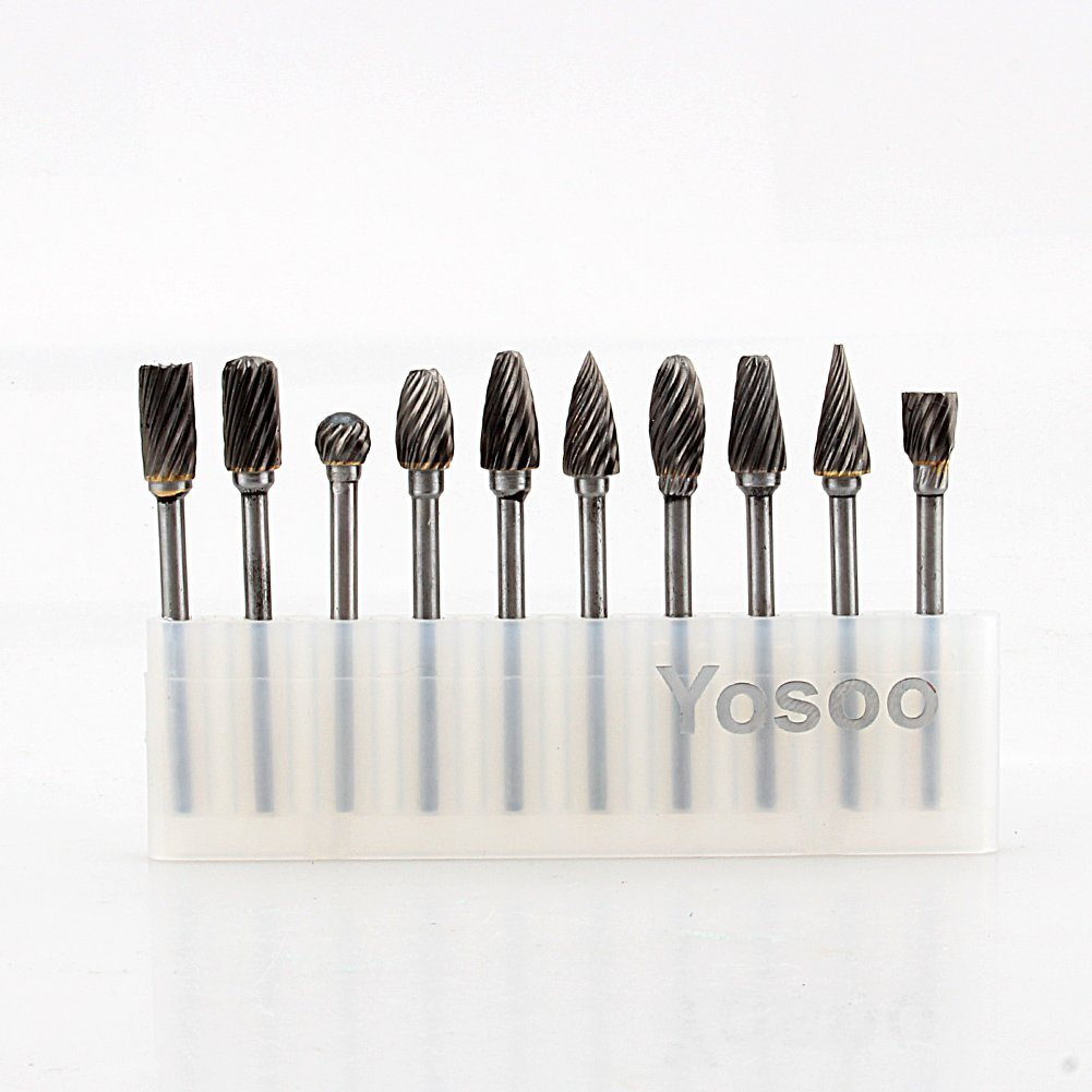 Yosoo 10PC 1/8'' Shank HSS Routing Router Bits Burr Rotary Tools Tungsten Carbide Rotary Burr SET Suit Drill& Rotary Tool, Engraving, Wood Working Tools