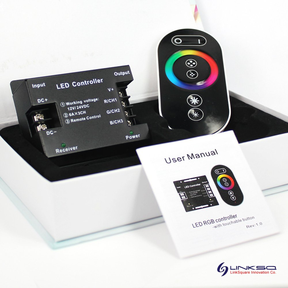 LinkSquare Écran Tactile RF Remote Control Télécommande, 12V / 24V 18A Controller Contrôleur Manette, 25cm DC Câble de Prise Femelle pour Bande de RGB LED SkyDance
