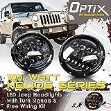 "Optix 7"" 105W LED Osram Headlights and Fog Lights For Jeep Wrangler JK TJ"