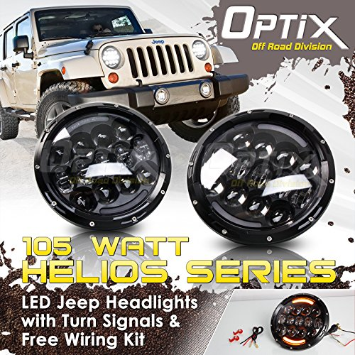 "Optix 7"" 105W LED Osram Headlights and Fog Lights For Jeep Wrangler JK TJ"