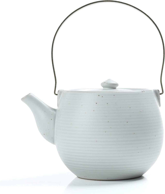 TEANAGOO TP07, Japan Porcelain Tea Pot with Filter and Metal Handle, 19 oz, Ru Ware, Ivory White