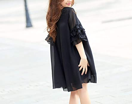Girls Dress Summer Black Short-sleeve Flare Sleeve Chiffon Kids Girls Dress