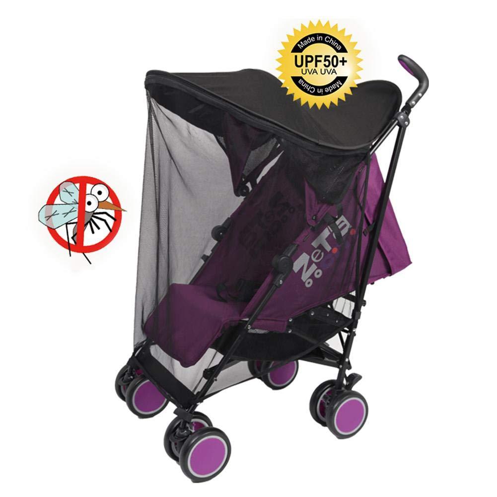 Ruby Parasol de Landau pour Enfants Protection UV Moustiquaire Universelle Parasol Poussette Durable en Acier à Haute Elasticité