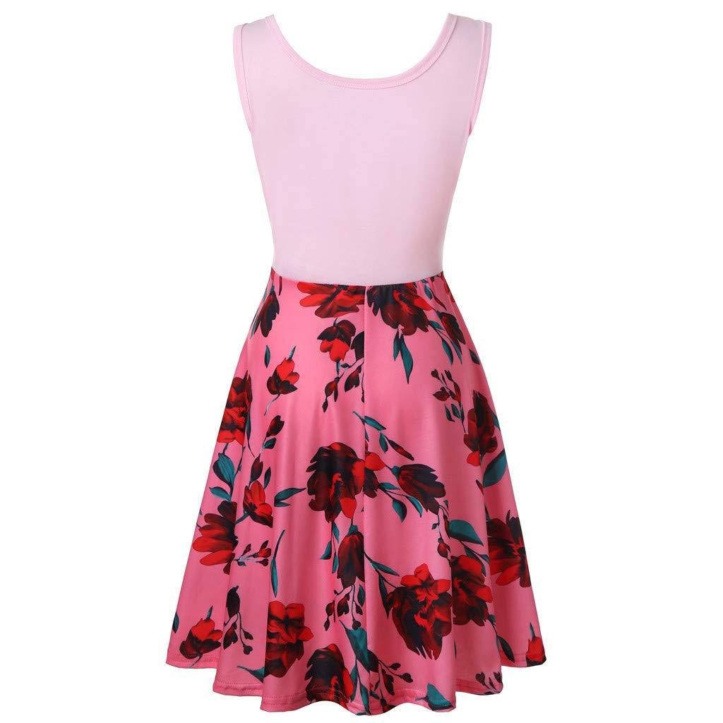 Party Dress Women Sleeveless Floral Print Summer Beach A Line Casual Dress