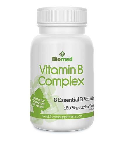 Complejo de Vitamina B 180 tabletas veganas vegetarianas, contiene las 8 vitaminas B en 1