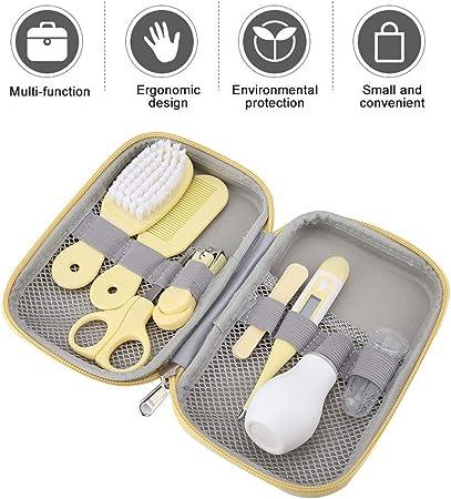 8 Unids Bebé Kit de Cuidado Diario Conveniente Bebé Kit de Aseo Nail Clipper Tijeras Cepillo de Pelo Peine Manicura(Amarillo)