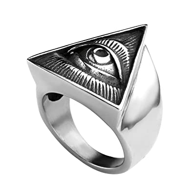 ee42fbb52573 Image Unavailable. Image not available for. Color: Zysta Men's Silver All  Seeing Eye ...
