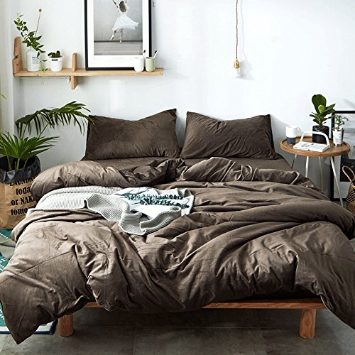 et King Size Solid Coffee Luxury Thickened Velvet Duvet Cover Set with 2 Pillow Shams - Hotel Quality Flannel Winter Warmth Luxurious Bedding Sets by ()