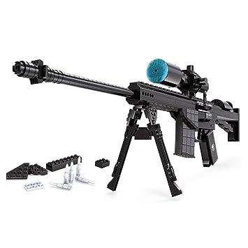 AUSNI 1:1 M107 - Juego de accesorios para rifle de espiral, compatible con pistolas de armas militares Lego con caja de almacenamiento (527 piezas): ...