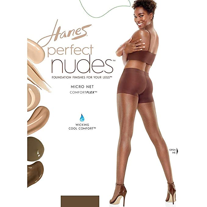 "4c4375c51f4 Hanes Perfect Nudesâ"" Sheer Micro Net Girl Short Tummy Control Hosiery"