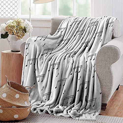(PearlRolan Outdoor Blanket,Music,Musical Notes Theme Melody Sonata Singing Song Clef Tunes Hand Drawn Style Pattern,Charcoal Grey,300GSM,Super Soft and Warm,Durable Throw Blanket)