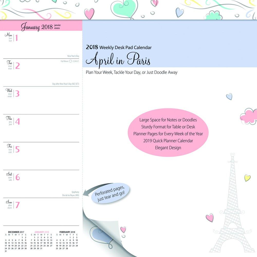 April In Paris 2018 10 X 10 Inch Weekly Desk Pad Calendar France