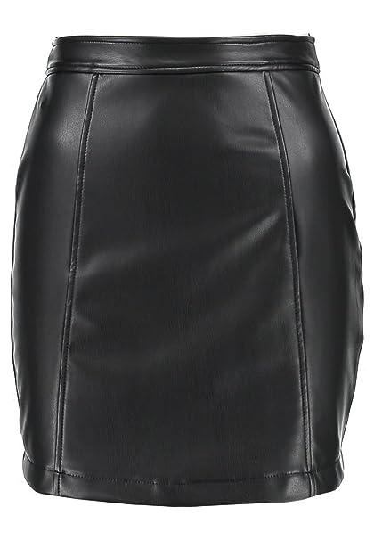 b0868777e Even&Odd Mini Falda Elegante de Cuero de Imitación Falda de Mujer ...