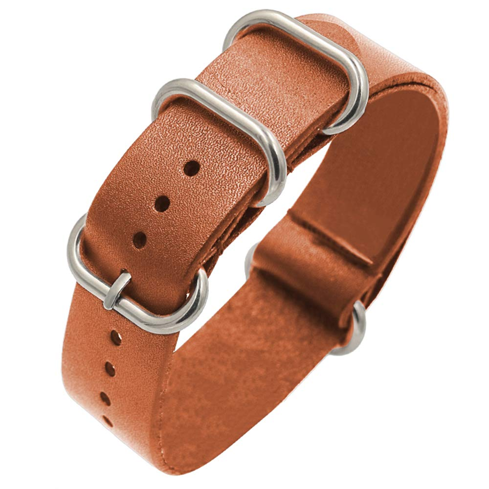 Light Brown 24mm Leather Watch Band with Metal Buckle for Men Women