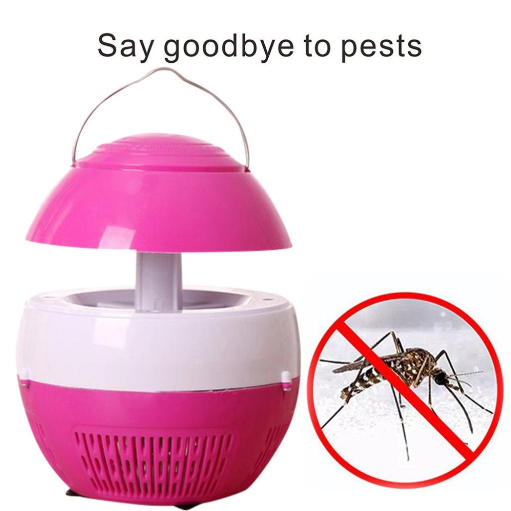 Telescopic Electric Mosquito Killer Lamp Pest Control Fly Bug Zapper Insect Killer Cable Charging for Home Restaurant Hotel, 2 Colors Available Gessppo (Pink)