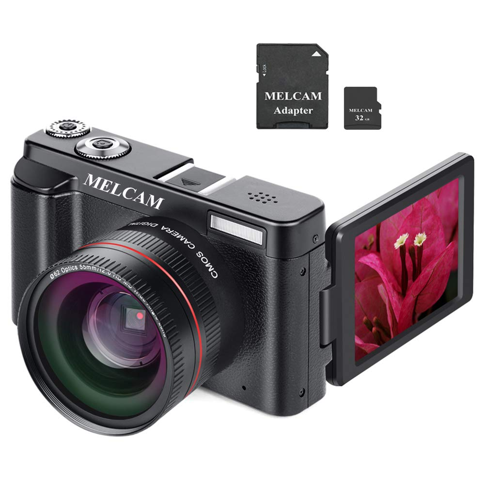 Digital Camera Video Camcorder, Full HD 1080P 24.0MP MELCAM YouTube Vlogging Camera with Wide Angle Lens and 32GB SD Card, 3.0