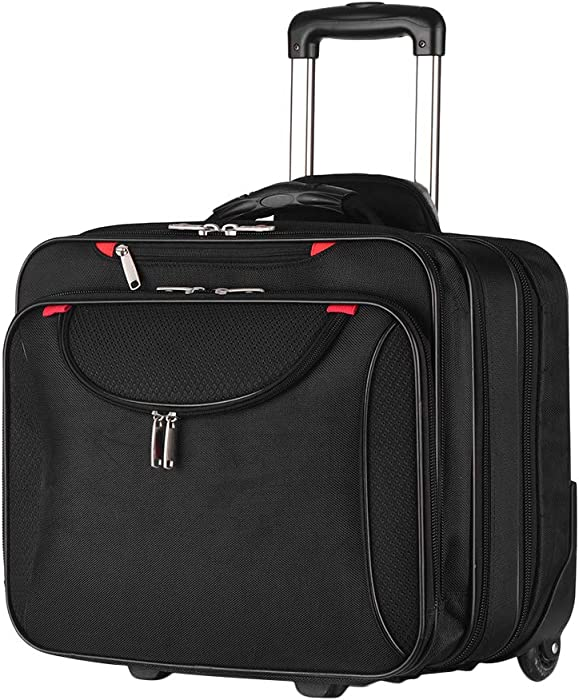 AirTraveler Rolling Briefcase Rolling Laptop Bag Computer Case with Wheels Spinner Mobile Office Carry On Luggage for 14.1in 15.6in Business Notebook for Women Men