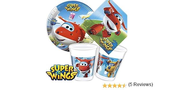 vasos decoraci/ón para cumplea/ños infantil o fiesta tem/ática////Fiesta Cumplea/ños Ni/ños Tem/ática Supe rwings Servilletas Juego de 36/* Super Wings * Party Juego de platos