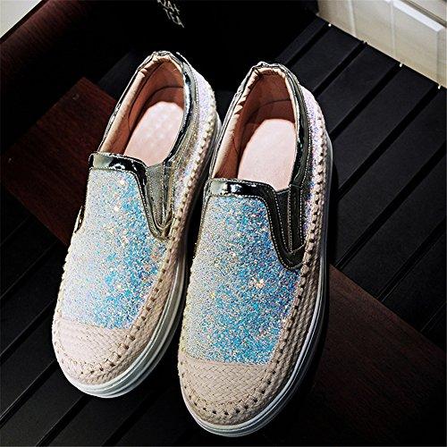 Plateau Sneakers Plateforme Bleu Roseg Cuir Mode Chaussure Brillant Femme Baskets w0OB4YXqx