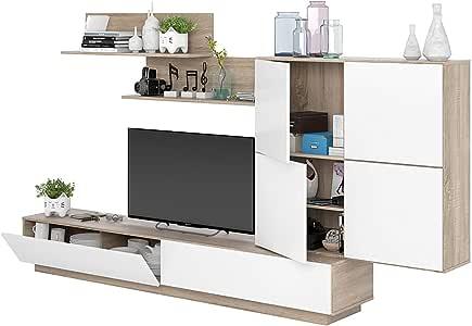 Pared Equipada San Sebastian Mueble salón TV con estantes y módulo suspendido salón Madera Base TV Sala de Comedor diseño Moderno 240 x 42 x 146 cm Color Blanco Artik y Roble