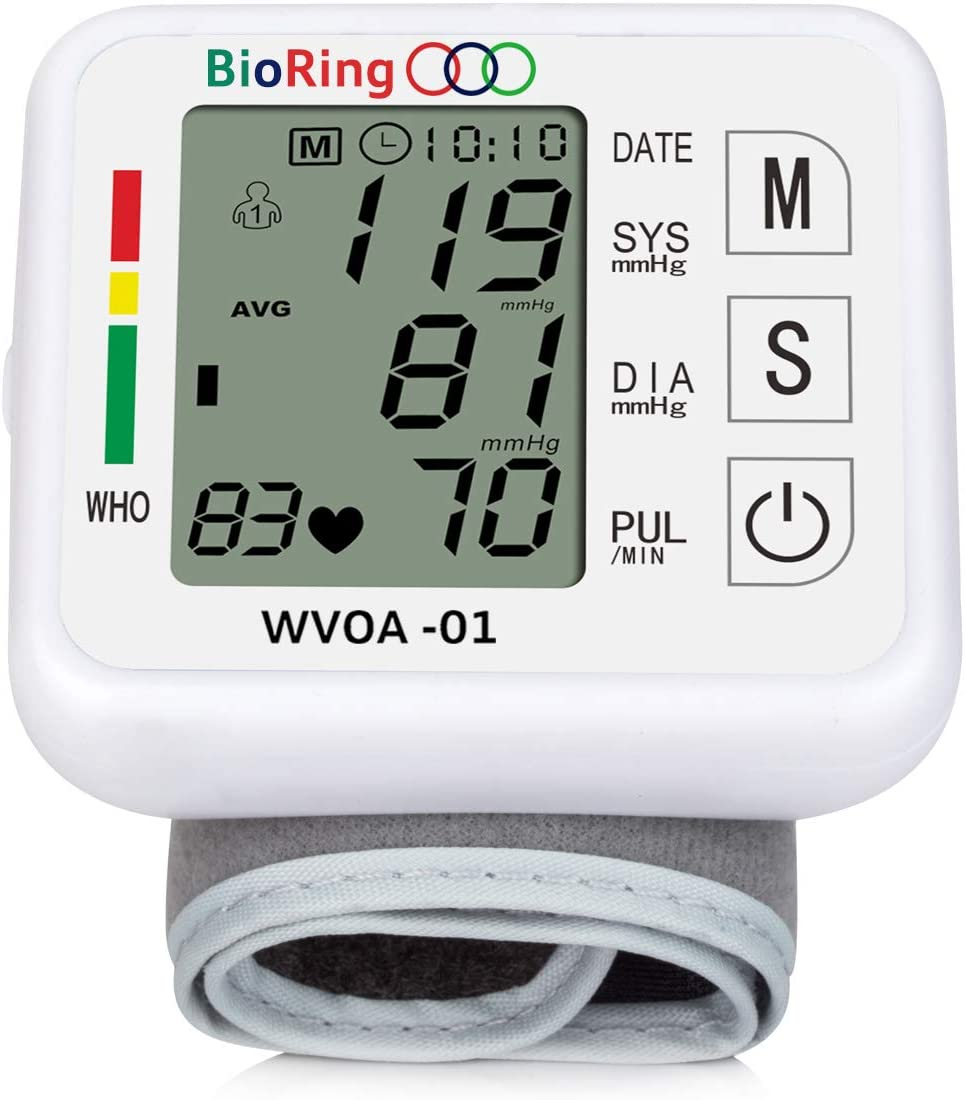 Wrist Blood Pressure Monitor Pulse/Heart Rate Reading Voice Broadcast Electric BP Monitor Automatic Digital LCD Display 2 User Memory Set 99 Reading ( Wrist/Voice)