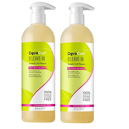 DevaCurl B Leave-In Miracle Curl Plumper Texture and Volumizing Hair Gel Lightweight 16oz Pack of 2