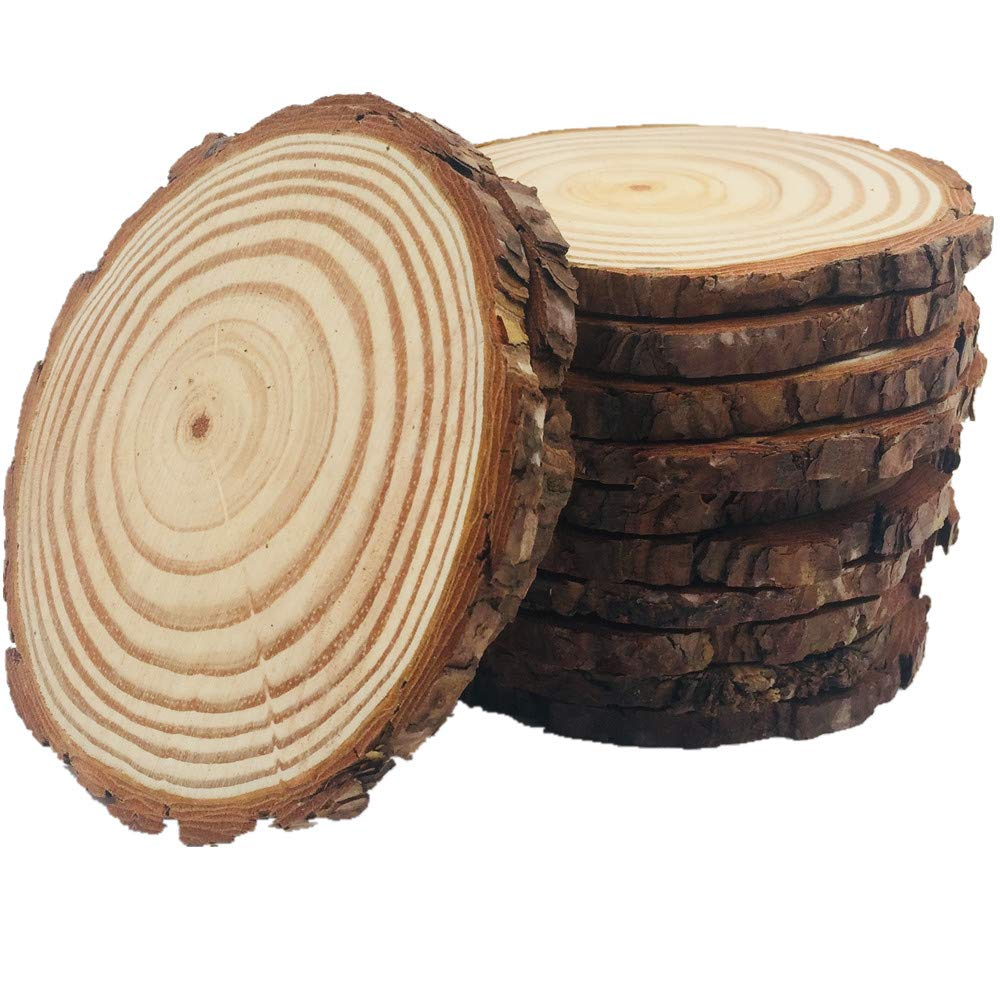 10pcs Wood Slices 4-4.7 inch Unfinished Natural with Tree Bark Diameter Large Circle Rustic Wedding Centerpiece Disc Coasters Christmas Ornaments DIY Woodland Projects Table Chargers