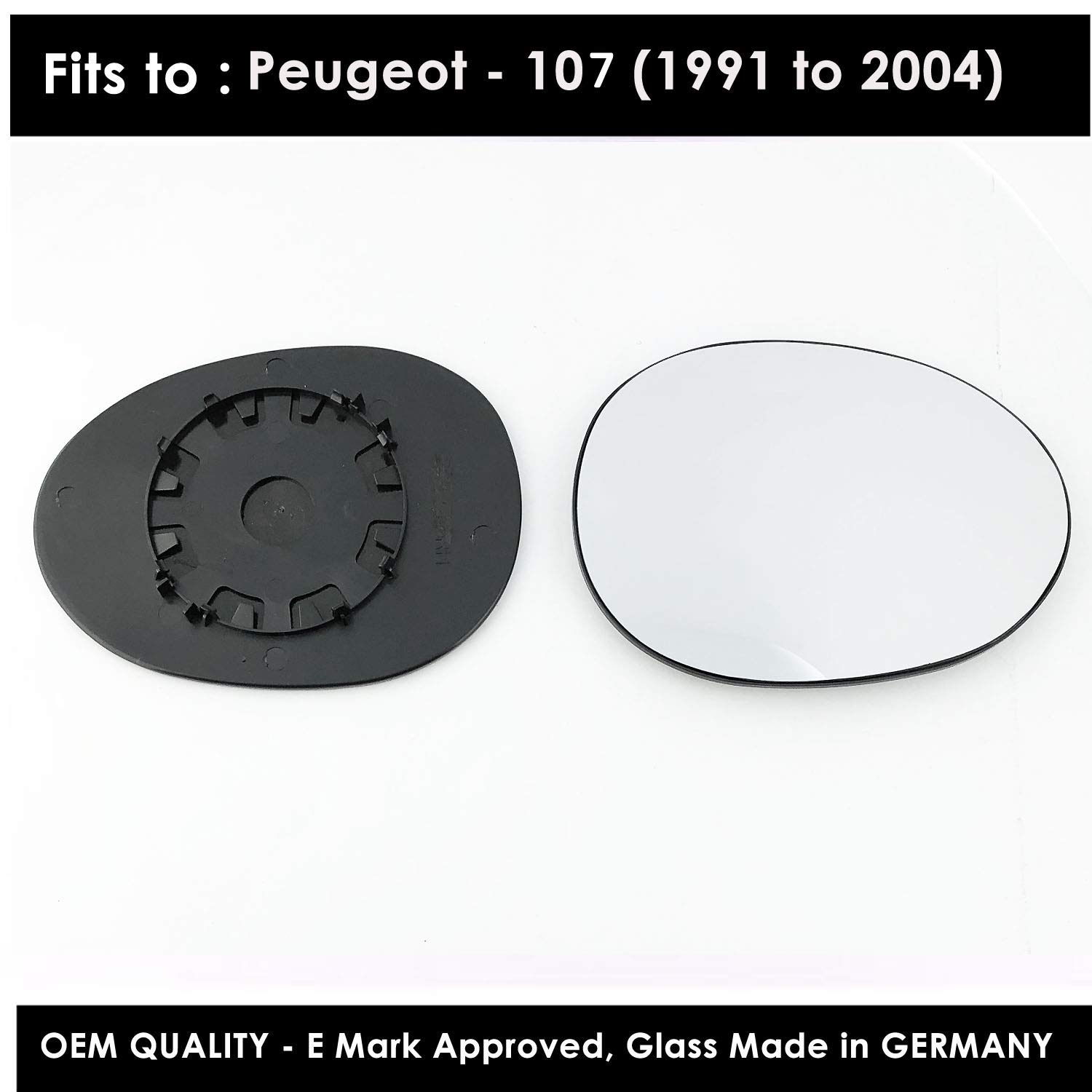 PE107 2005 to 2014 Non Heated Driver Side Silver Wing Mirror Glass Including Base Plate RH