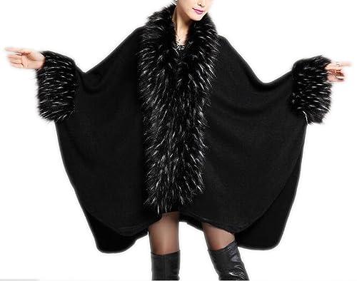 Otoño De La Mujer Y El Invierno Grueso Abrigo De Punto De Capa De Capa De Abrigo De Punto De Moda Cá...