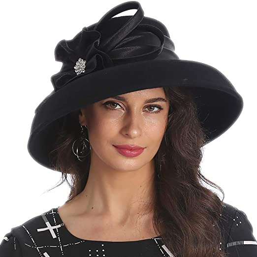 94c1b52864f FORBUSITE Elegant Women Wool Felt Floral Trimmed Cloche Bucket Winter  Church Hats (Black)