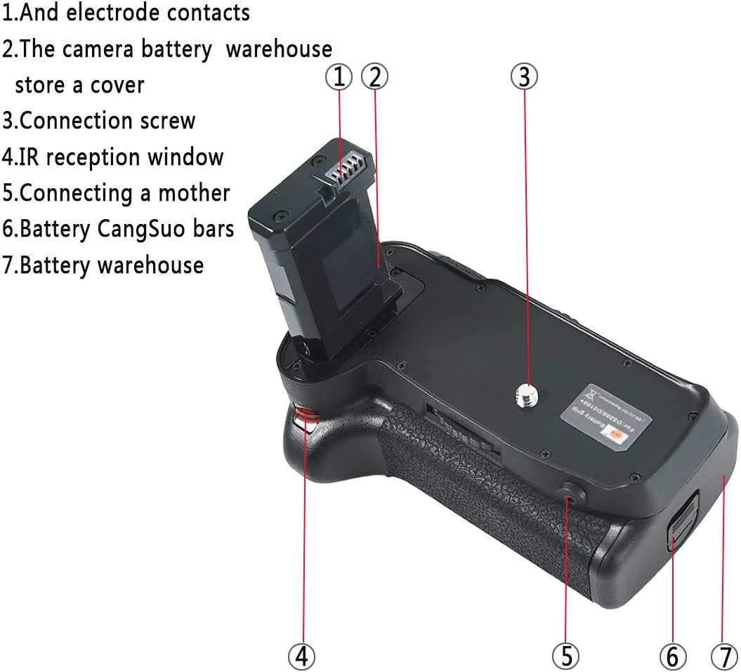 DSTE/® Pro IR Remote MB-D51 Vertical Battery Grip for Nikon D5100 D5200 SLR Digital Camera as EN-EL14 EN-EL14A