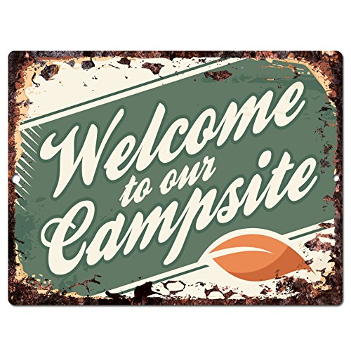 Welcome to Our Campsite Chic Sign Rustic Shabby Vintage style Retro Kitchen Bar Pub Coffee Shop Wall Decor 9