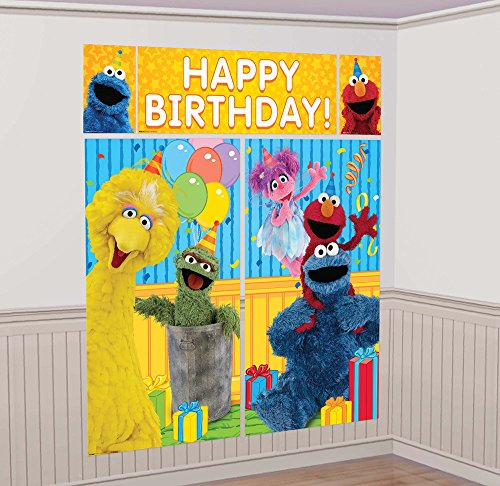 amscan Sesame Street Elmo Scene Setters Wall Banner Decorating Kit Birthday Party Supplies,Multicolor ()