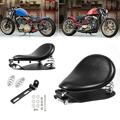 "Amazicha 3"" Black Solo Seat Bracket Base Chrome Barrel Springs Mounting Kit Compatible for Harley Honda Yamaha Kawasaki Suzuki Sportster Bobber Chopper: Automotive"