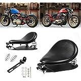 "Amazicha 3"" Black Solo Seat Bracket Base Chrome Barrel Springs Mounting Kit Compatible for Harley Honda Yamaha Kawasaki Suzuk"