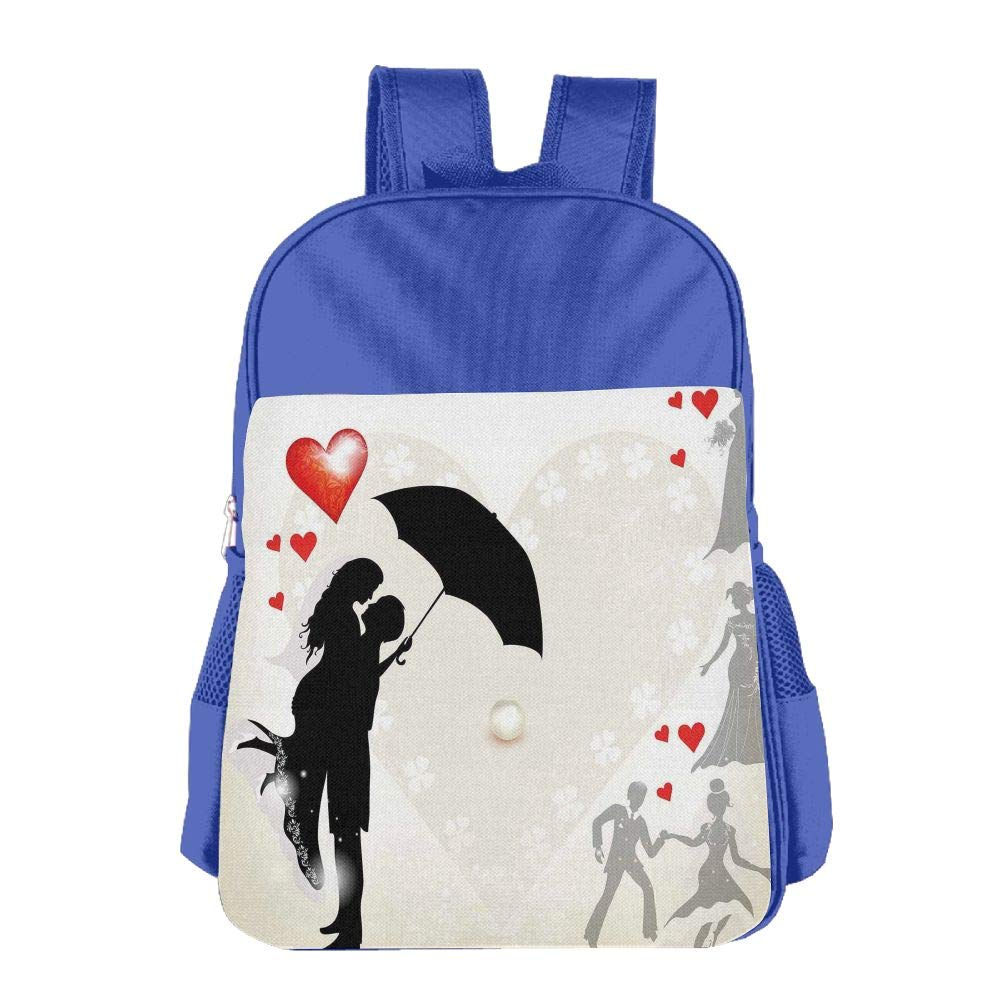 Haixia Kid's Boys'&Girls' School Backpack Wedding Decorations Couple in Love Umbrella Red Hearts Daisies Romance in The Air Full Black White Red