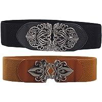 Cinturón Elástico Retro, 2 Piezas Moda Cinturón Elástico Ancho, Cinturón Elástico para Mujer con Hebilla de Metal…