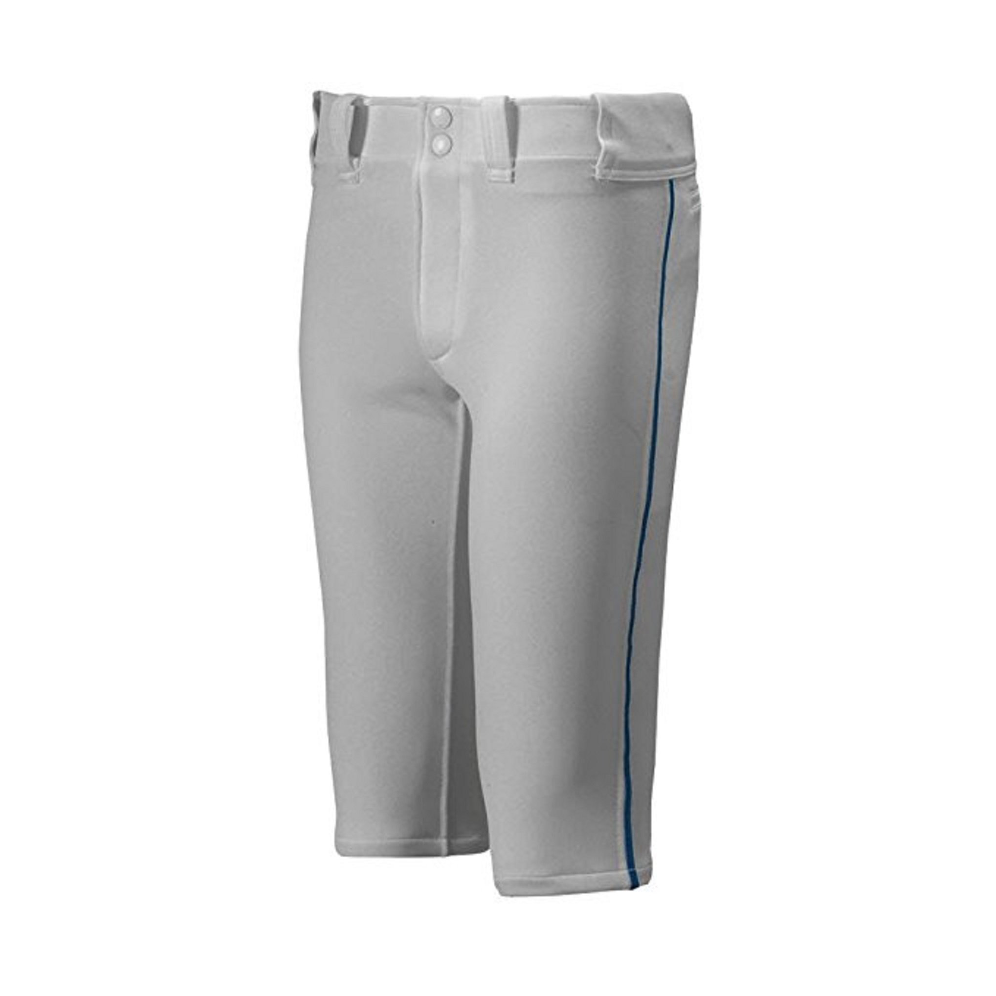 Mizuno Youth Premier Piped Short Baseball Pant, Grey-Navy, Youth Small by Mizuno