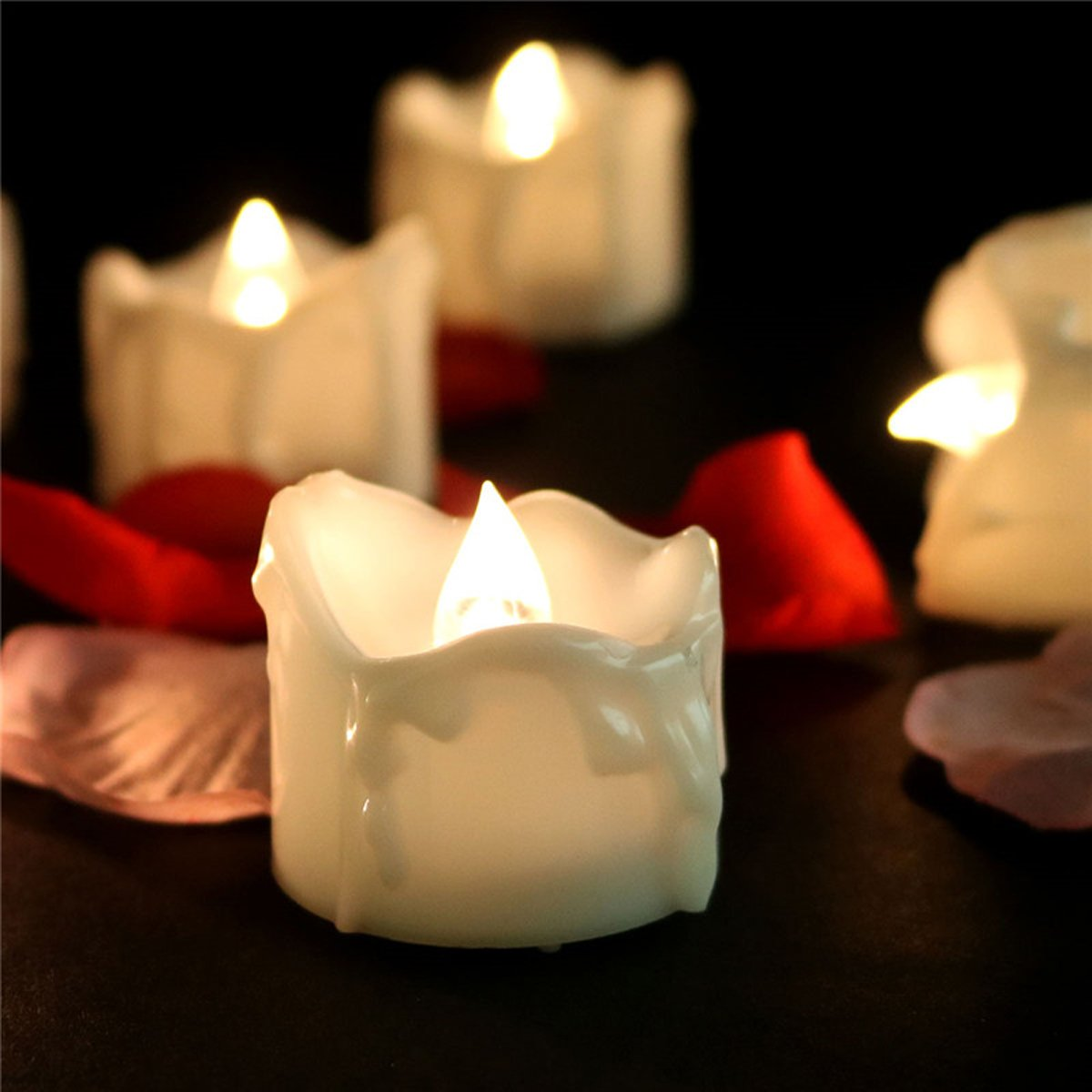 LifeGenius 24 PCS Wax Dripped Unscented Flameless Candles Flickering Warm White Votive Realistic Small Tea lights
