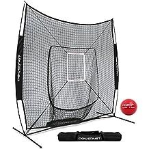 PowerNet DLX 7x7 Baseball Softball Hitting Net + Weighted Heavy Ball + Strike Zone Bundle | Training Set | Practice Equipment Batting Soft Toss Pitching | Team Color | Portable Backstop