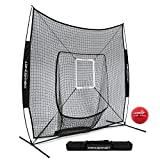 PowerNet DLX 7x7 Baseball Softball Hitting Net + Weighted Heavy Ball + Strike Zone Bundle (Black) | Training Set | Practice Equipment Batting Soft Toss Pitching | Team Color | Portable Backstop