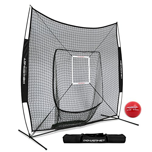 PowerNet DLX 7x7 Baseball Softball Hitting Net + Weighted Heavy Ball + Strike Zone Bundle (Black) | Training Set | Practice Equipment Batting Soft Toss Pitching | Team Color | Portable Backstop ()