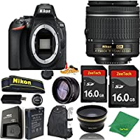 Great Value Bundle for D5600 DSLR – 18-55mm AF-P + 2PCS 16GB Memory + Wide Angle + Telephoto Lens + Backpack